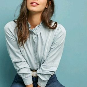 Anthropologie Eri + Ali Embroidered Piped Blouse M